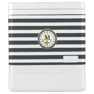 Nautical Anchor in Navy/Gold Cooler