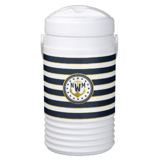 Nautical Anchor in Navy & Gold Drinks Cooler