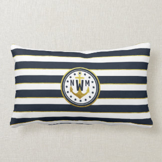 Nautical Anchor in Navy & Gold Lumbar Cushion