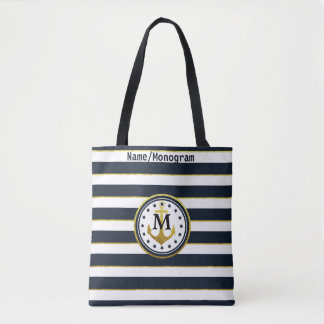 Nautical Anchor in Navy/Gold Tote Bag