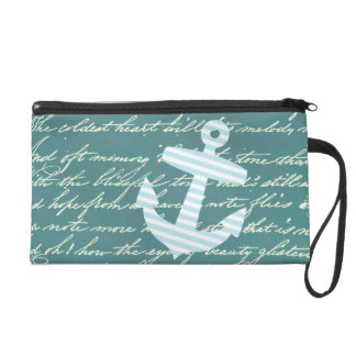 Nautical anchor in turquoise teal bag wristlet purses