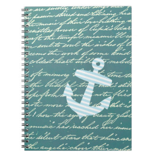 Nautical anchor in turquoise teal notebook