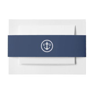 Nautical Anchor Initials Elegant Navy Blue Invitation Belly Band
