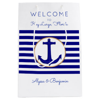 Nautical Anchor Key Largo Map Wedding Welcome Bags