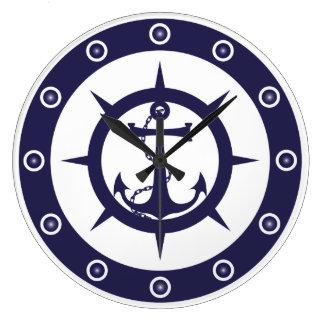 Nautical Anchor Large Clock