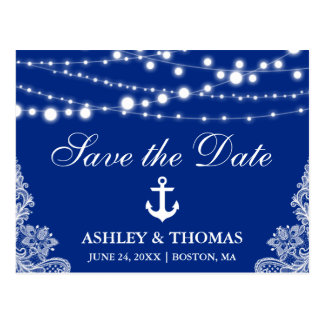 Nautical Anchor Lights & Lace Save the Date Postcard