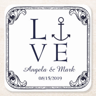 Nautical Anchor Love Vintage Personalized Wedding Square Paper Coaster