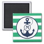 Nautical Anchor Mongram Fridge Magnets