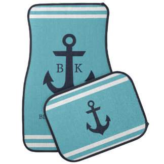 Nautical Anchor Monogram Car Mats (set of 4)