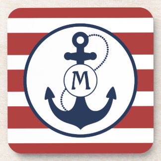 Nautical Anchor Monogram Coaster