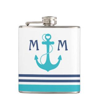 Nautical Anchor Monogram Flask
