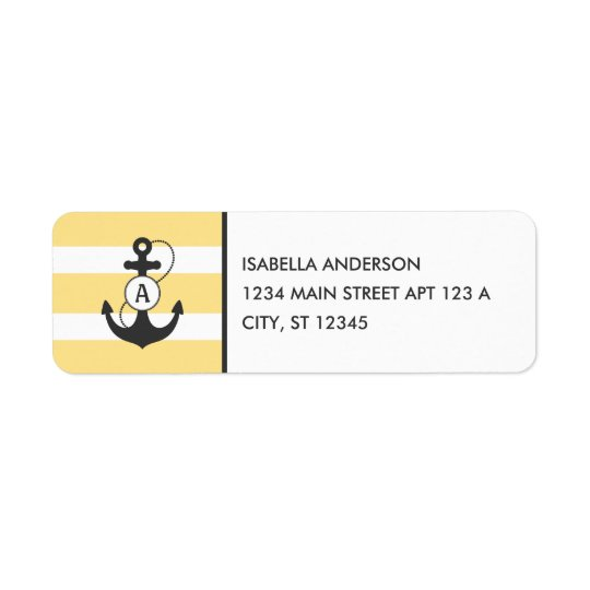 Nautical Anchor Monogram Return Address Label