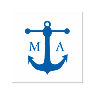 Nautical Anchor Monogram Self-inking Stamp