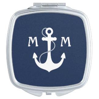 Nautical Anchor Monogram Travel Mirror