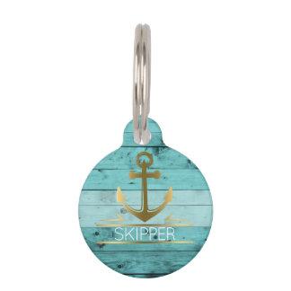 Nautical Anchor Monogram Turquoise Wood Pet Name Pet ID Tag
