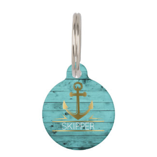 Nautical Anchor Monogram Turquoise Wood Pet Name Pet Tag