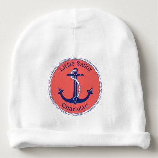 Nautical Anchor Navy and Coral Personalized Baby Beanie