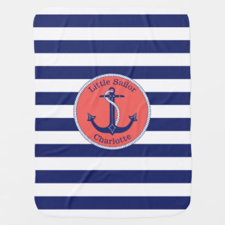 Nautical Anchor Navy and Coral Personalized Baby Blanket