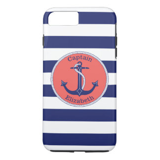 Nautical Anchor Navy and Coral Personalized iPhone 8 Plus/7 Plus Case