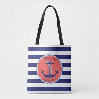 Nautical Anchor Navy and Coral Personalized Tote Bag