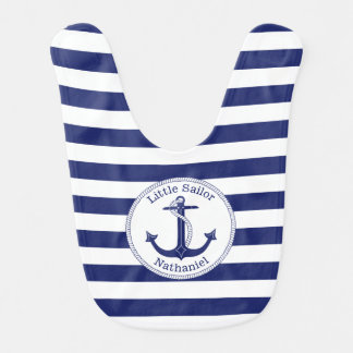 Nautical Anchor Navy and White Personalized Boy's Bib