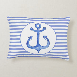 Nautical Anchor - Navy Blue Accent Pillow