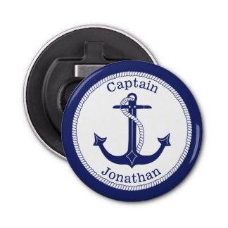 Nautical Anchor Navy Blue Captain Personalized Bottle Opener