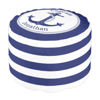 Nautical Anchor Navy Blue Captain Personalized Pouf