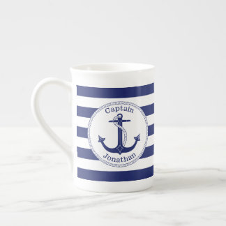 Nautical Anchor Navy Blue Captain Personalized Tea Cup
