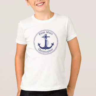 Nautical Anchor Navy Blue First Mate Personalized T-Shirt