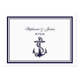 Nautical Anchor Navy Blue Framed 2 Escort Cards #2 Pack Of Chubby Business Cards
