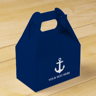 Nautical Anchor Navy Blue Personalized Gable Favour Box