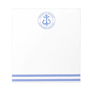 Nautical Anchor Navy Blue Personalized Wedding Notepad