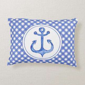 Nautical Anchor - Navy Blue Plaid Accent Pillow