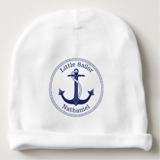 Nautical Anchor Navy Blue Sailor Personalized Baby Beanie