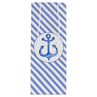 Nautical Anchor - Navy Blue Striped Gift Bag