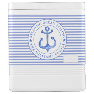 Nautical Anchor Navy Blue Striped Personalized Cooler