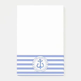 Nautical Anchor Navy Blue Striped Personalized Post-it Notes
