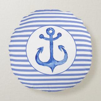 Nautical Anchor - Navy Blue Striped Round Pillow