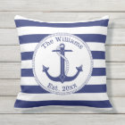 Nautical Anchor Navy Blue Stripes Family Name Cushion