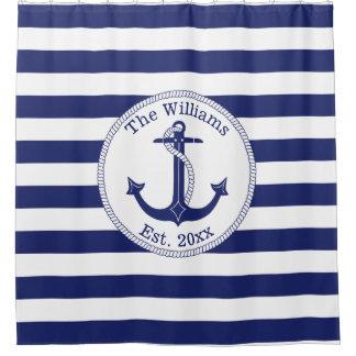 Nautical Anchor Navy Blue Stripes Family Name Shower Curtain