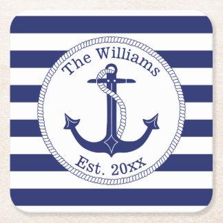 Nautical Anchor Navy Blue Stripes Family Name Square Paper Coaster