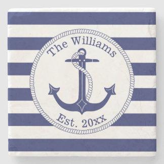 Nautical Anchor Navy Blue Stripes Family Name Stone Coaster