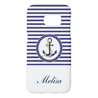 Nautical Anchor Navy Blue Stripes Name