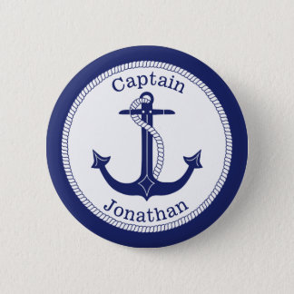 Nautical Anchor Navy Captain Personalized 6 Cm Round Badge