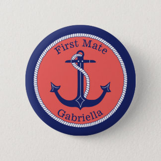 Nautical Anchor Navy Coral First Mate Personalized 6 Cm Round Badge