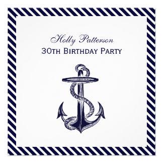 Nautical Anchor Navy Diag Stripe 2SQ Birthday Pty Invite
