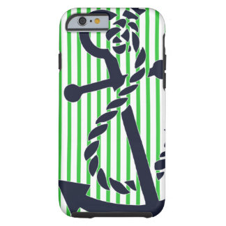 Nautical Anchor Navy Green Stripe iPhone 6 case 4