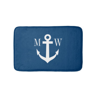 Nautical anchor navy monogram non slip bath mat