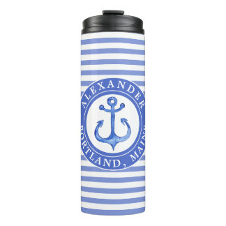 Nautical Anchor Navy Personalized Thermal Tumbler
